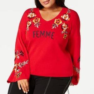 INC Femme Bell Sleeve Floral Embroidered V Neck